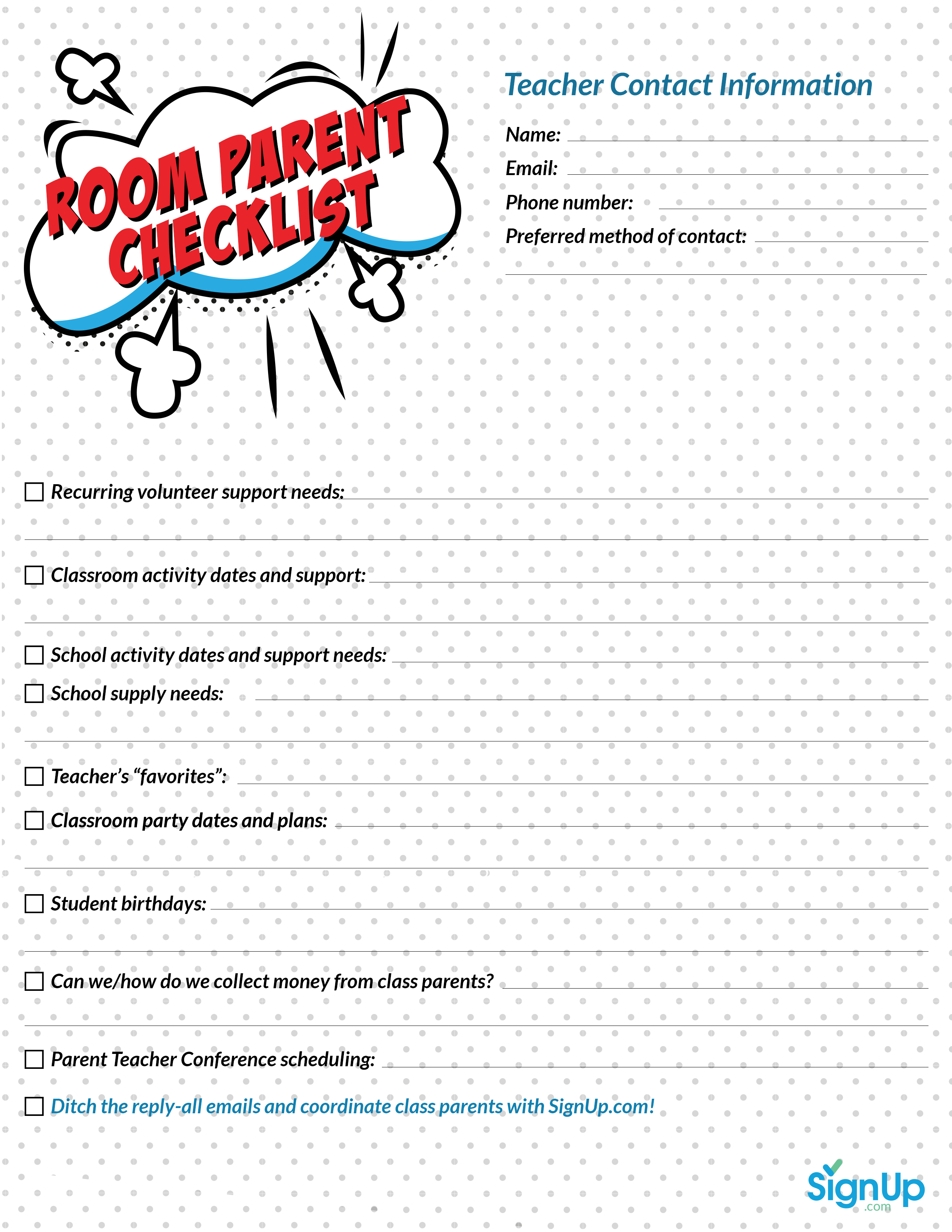 free printable room parent checklist for classrooms