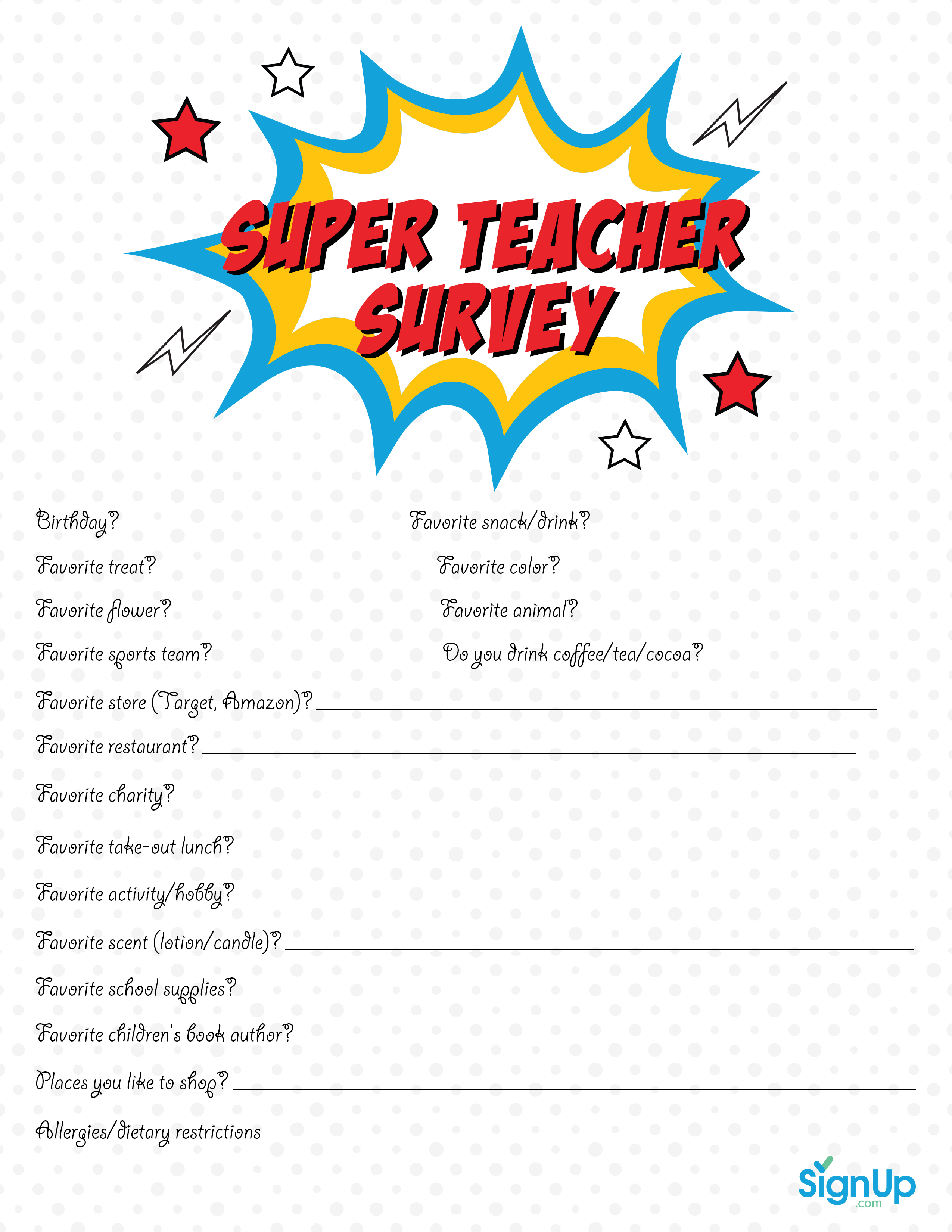 Dramatic image for teacher favorite things questionnaire printable