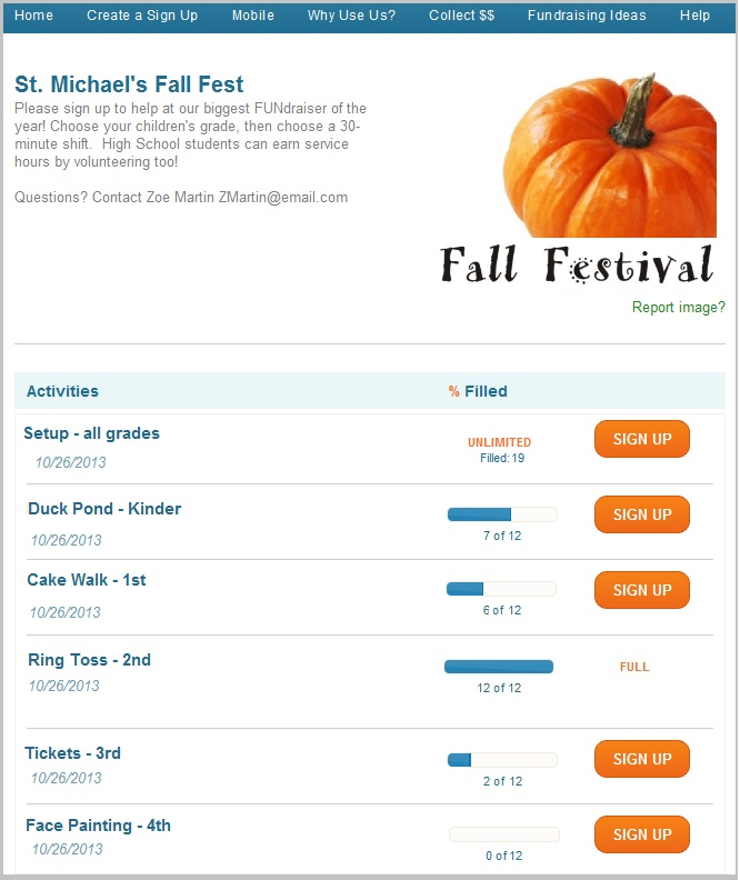 Fall Carnival Group Page