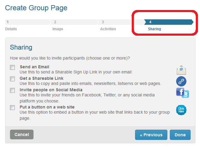 How do I invite people to sign up on my Group Page SignUpcom