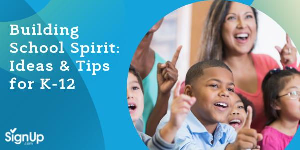 Elementary kids and teachers showing spirit