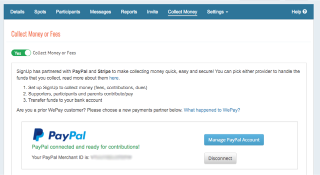 Collect Money tab on SignUp