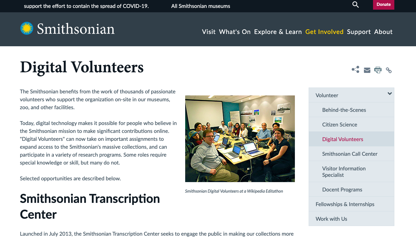 Smithsonian digital volunteers website
