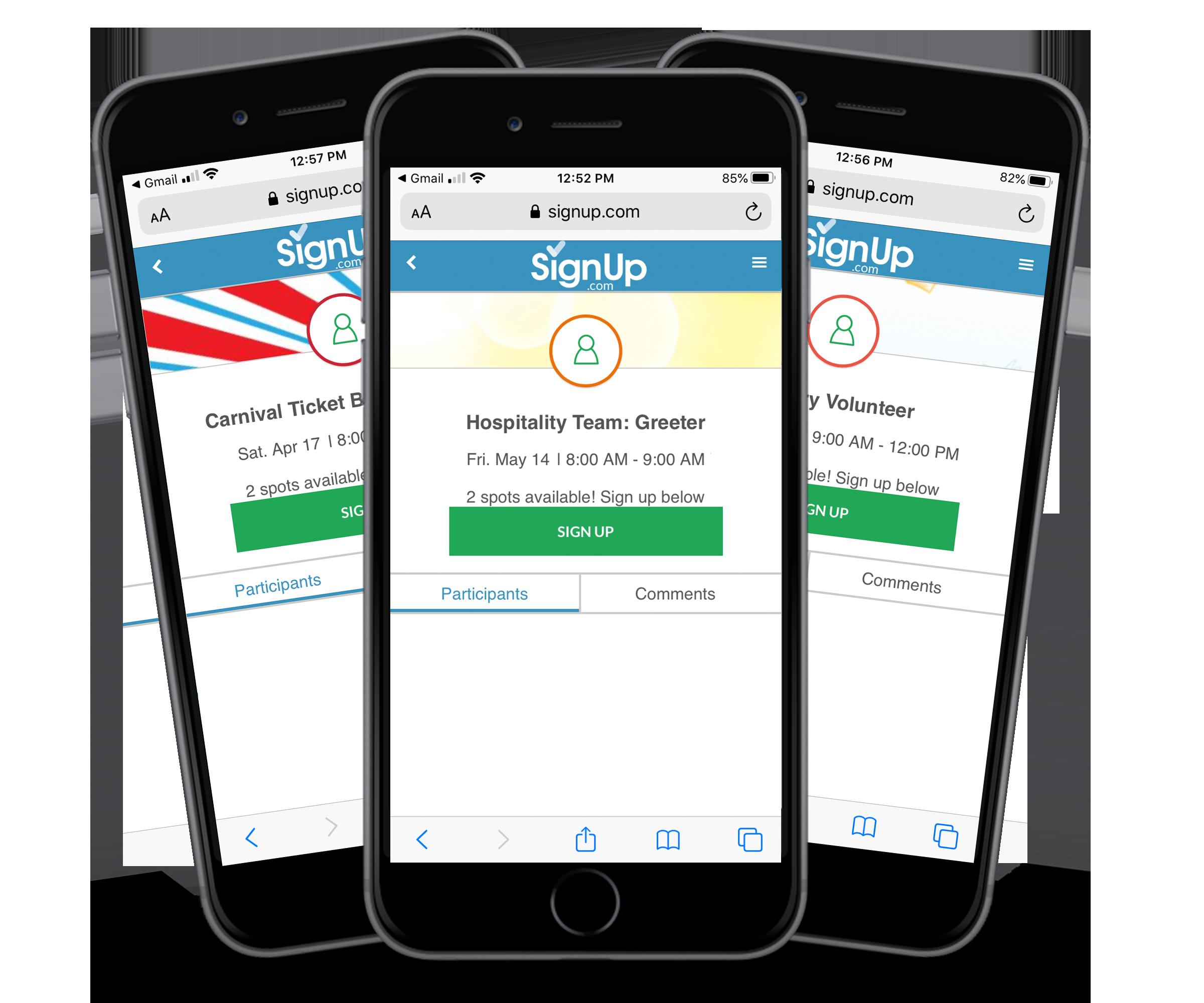 volunteer SignUps on mobile