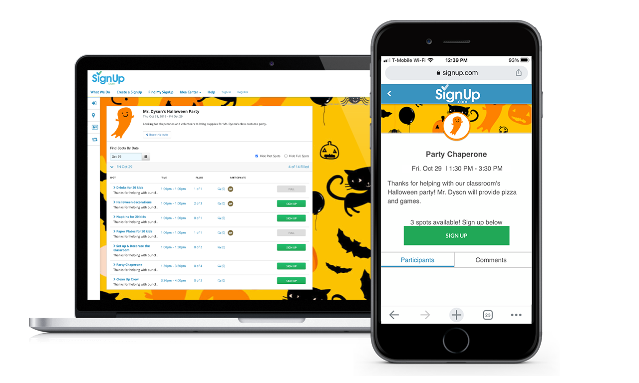 Halloween Party SignUp on Desktop and Mobile