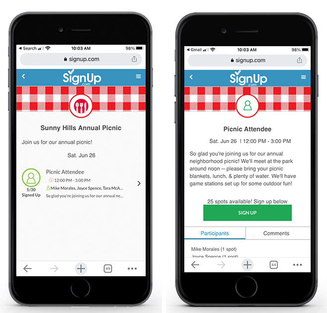 Annual Picnic SignUp on Mobile
