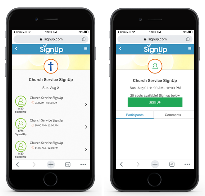 church service signup on mobile device