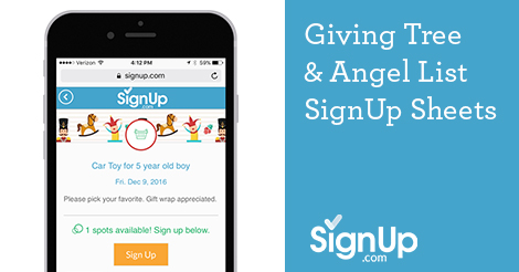 giving tree angel tree signups for schools churches and