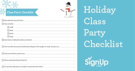 printable checklist holiday classroom party signup com