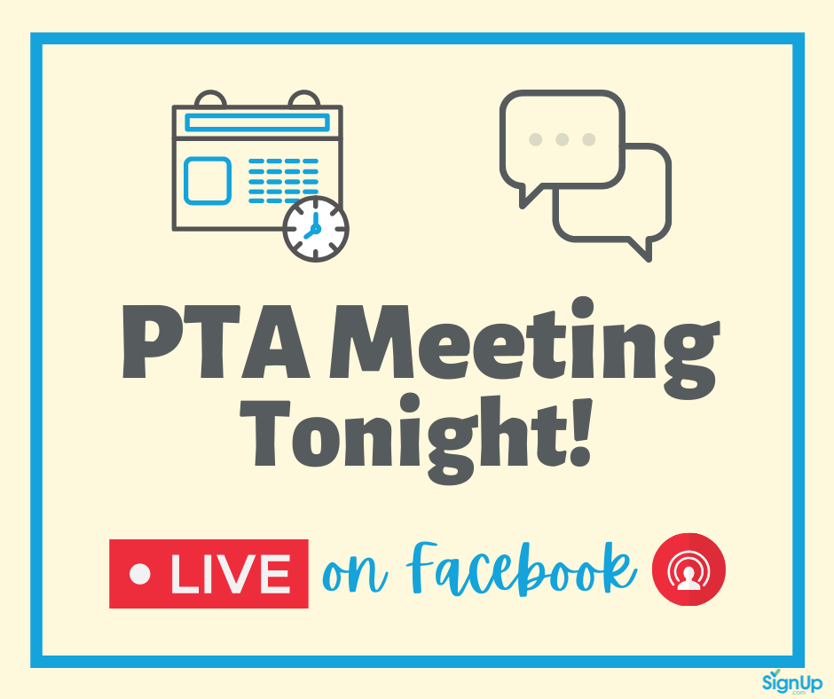 PTA Meeting Live on Facebook social graphic