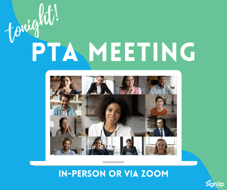 PTA Meeting in-person or Zoom social graphic