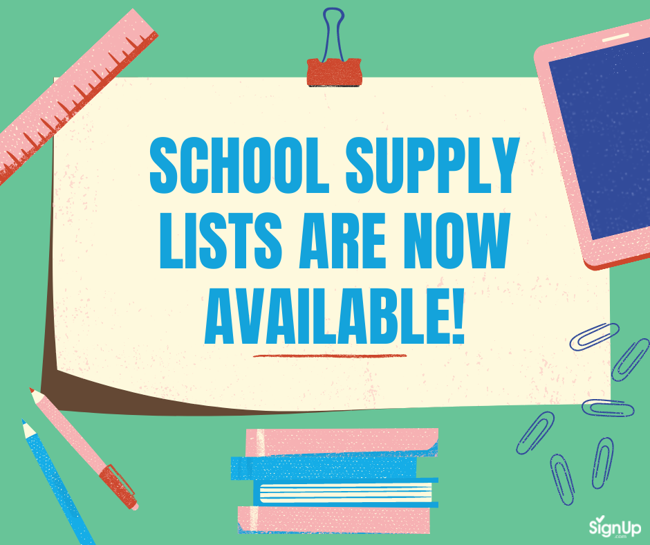 School Supply Lists are Now Available social graphic