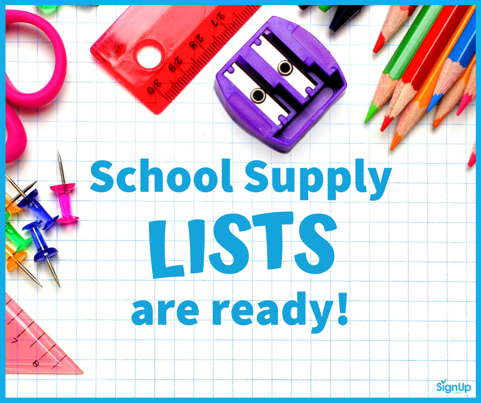 School Supply Lists are Ready social graphic