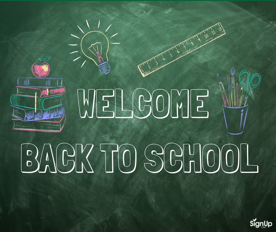 Welcome Back to School chalkboard social graphic