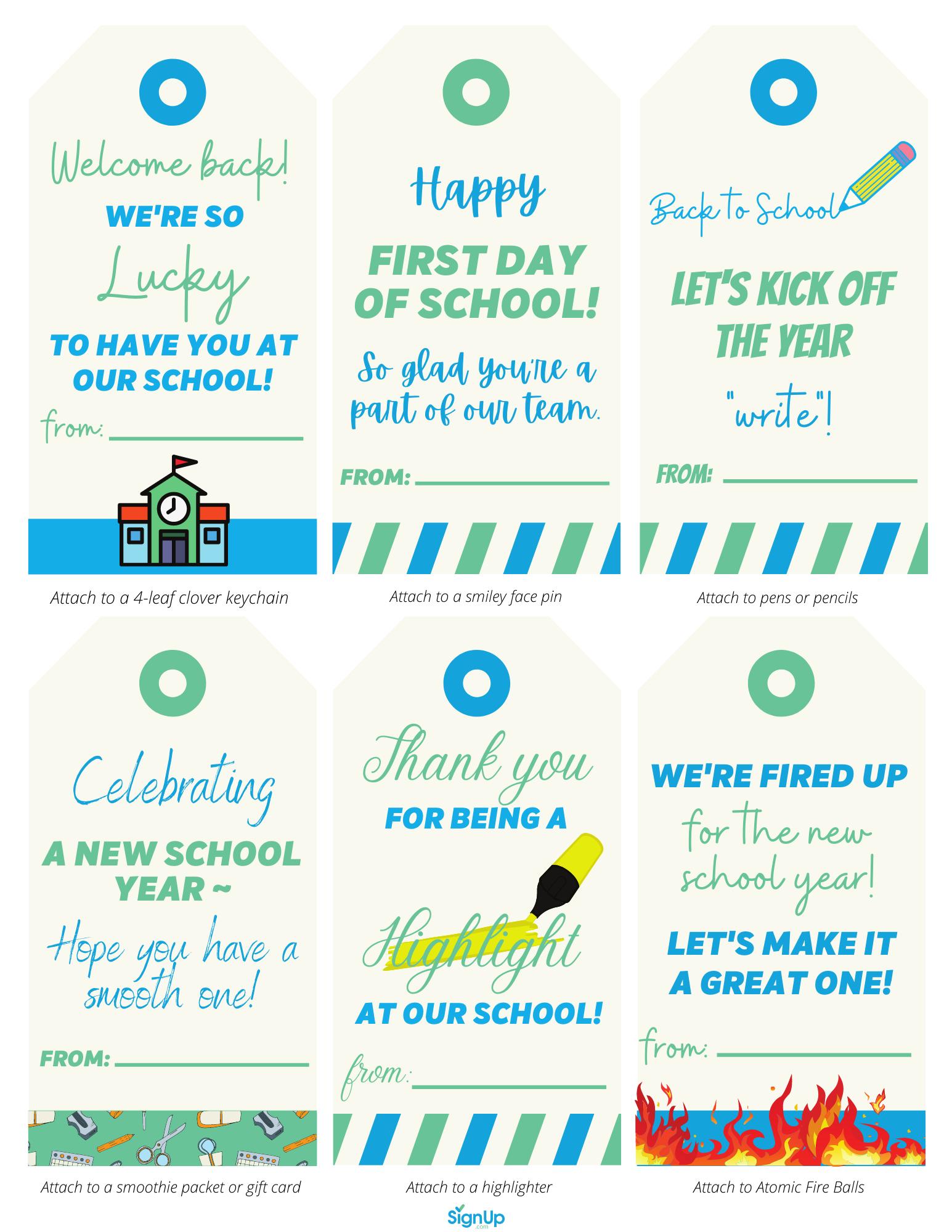 back to school appreciation notes page 1