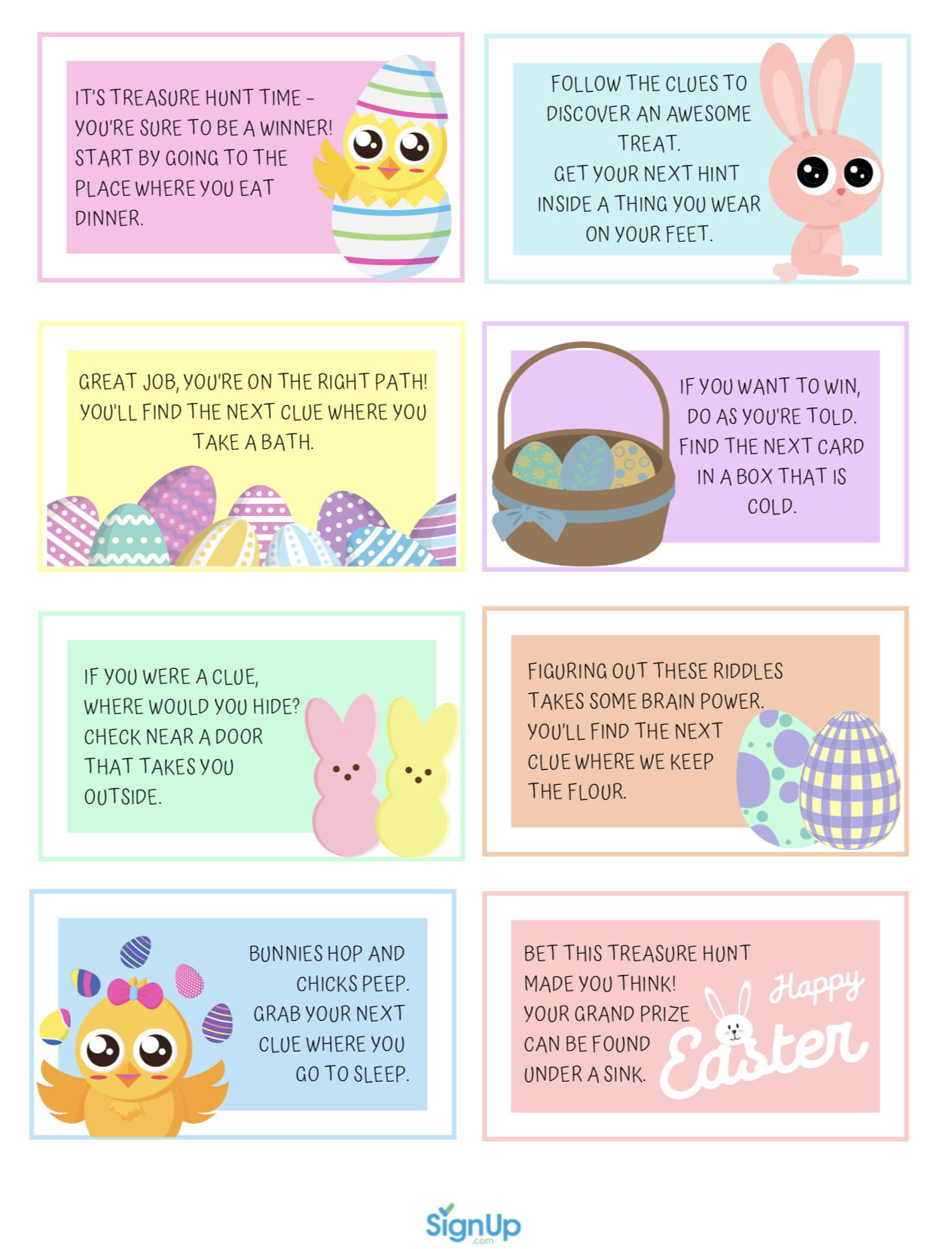 Easter scavenger hunt list printable