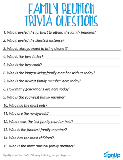 graphic regarding Printable Trivia Questions and Answers called Loved ones Reunion Match: Printable Trivia Inquiries for Households
