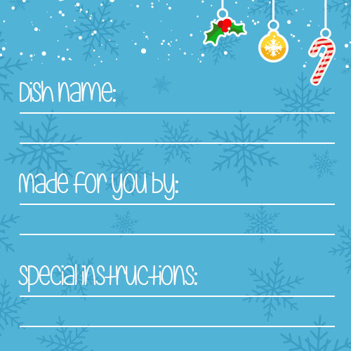 ornaments and snowflakes meal card
