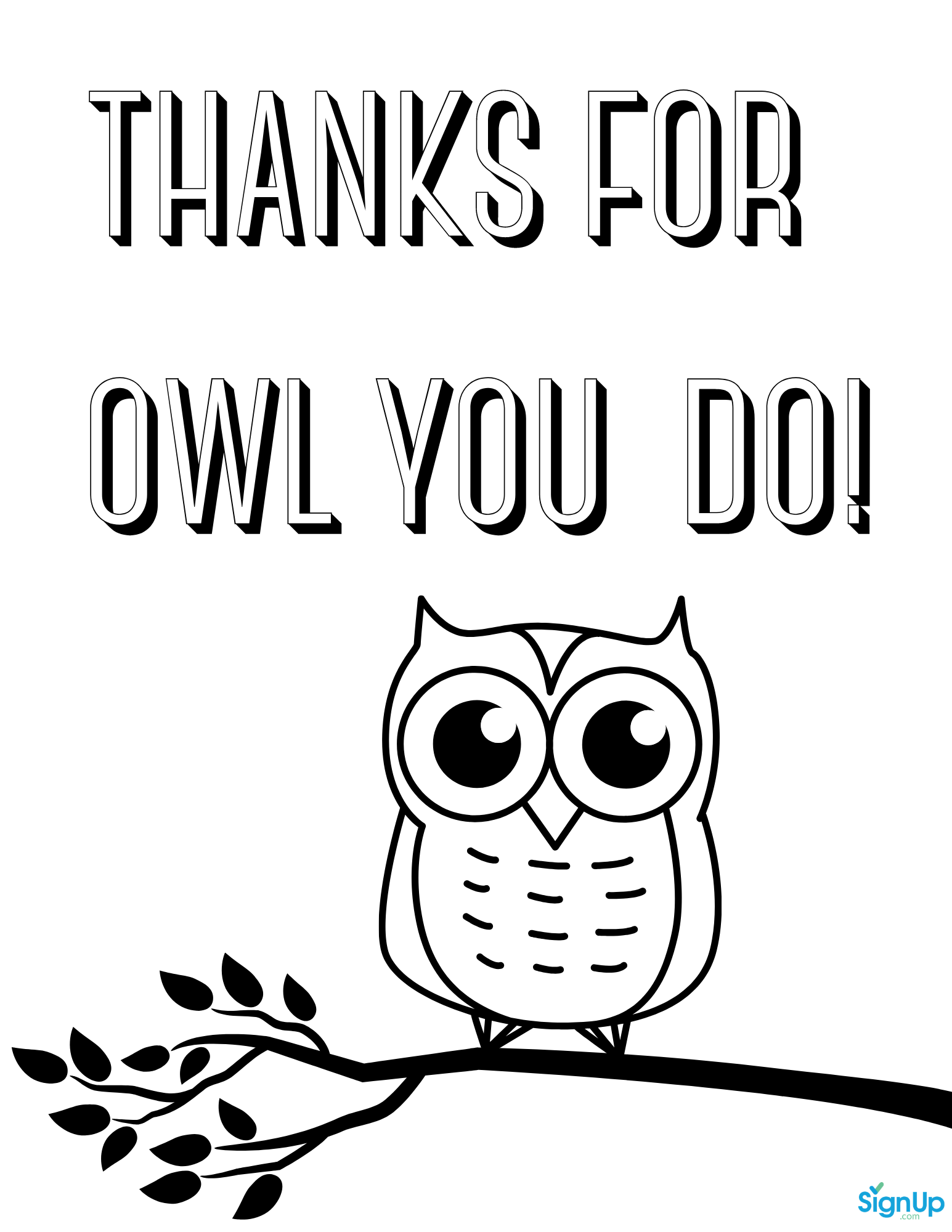 Thanks for Owl You Do Coloring Page