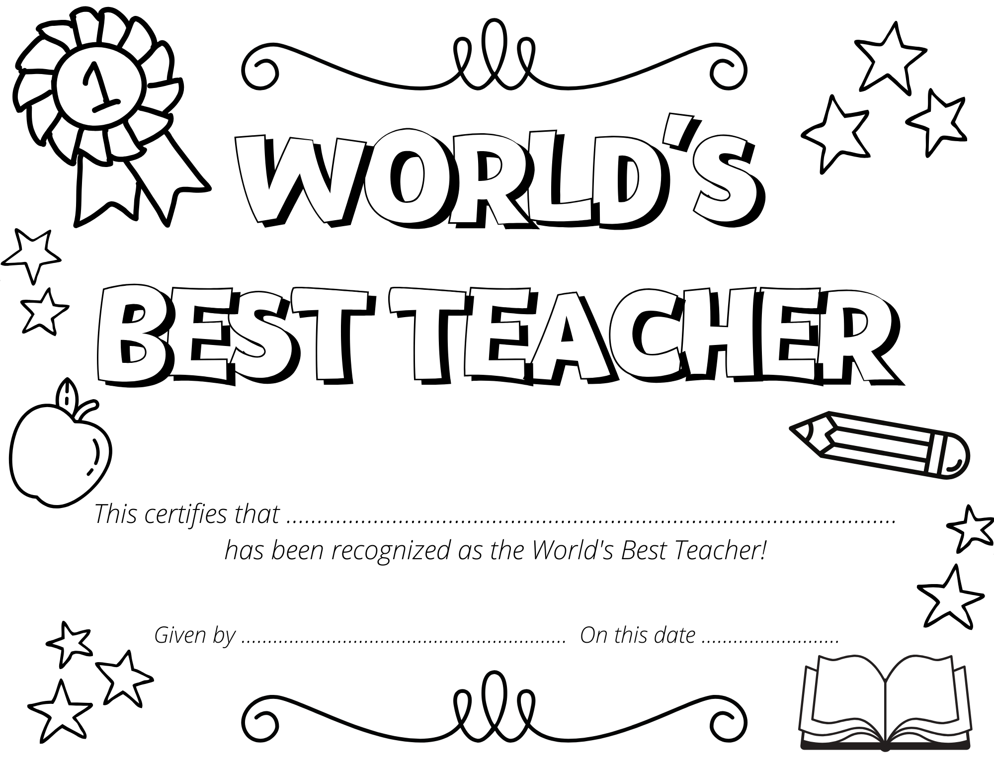 World's Best Teacher Certificate Coloring Page